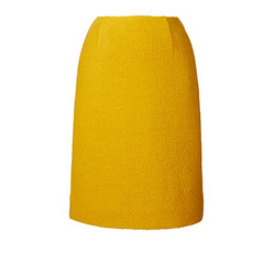 yellow wool pencil skirt