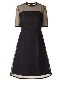 silk little black short sleeved knee length dress with a round neckline