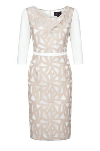 Fee G Draped Neck Dress in Mink and Cream
