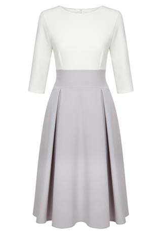 Fee G Aline Grey and Cream Dress