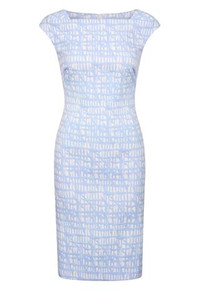 Fee G Blue Check Fitted Dress with Cap Sleeves.
