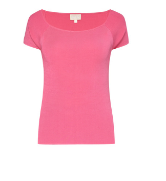 Pink Knit Top with Short Sleeves
