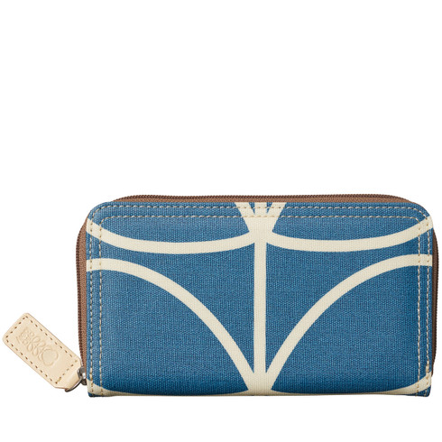 Orla Kiely Marine Blue Big Zip Wallet