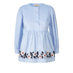 Blue Smock Top Orla Kiely with embroidery