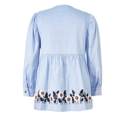 Orla Kiely Blue Smock Top with embroidery