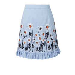 Blue Embroidery Skirt by Orla Kiely
