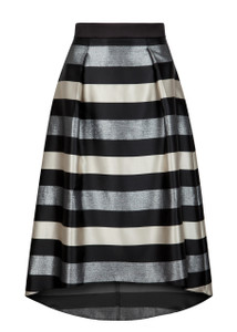 Fee G Black and Silver Stripe Skirt