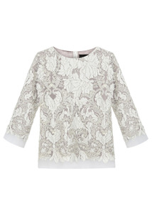 Fee G Ivory Lazer Cut Embroidery Top