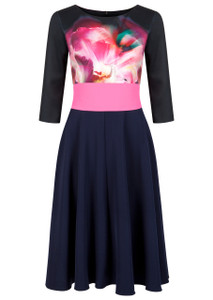 Fee G Floral Bodice Obi Dress