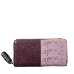 Orla Kiely Big Zip Wallet Plum