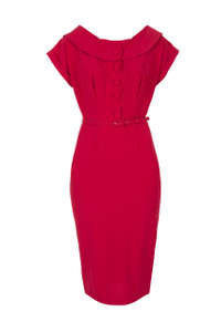 Stop Staring Nellie Dress This stunning red fitted dress has a vintage style feel. It features a round boat neckline with collar, and short rolled sleeves and falls below knee length.