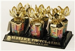 "6 oz. Milk Chocolate Valentine ""Napolitains"" in Gold Gift Bouquet"