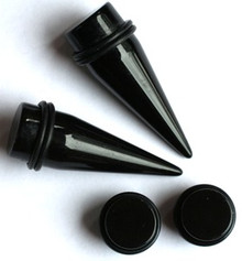 Black Acrylic Tapers AND Black Plugs gauges - Choose size 00g-1 inch