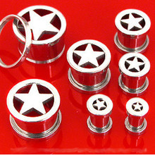 Pair STEEL STAR SCREW ON PLUGS tunnels ear flesh gauges CHOOSE SIZE 00g-8g