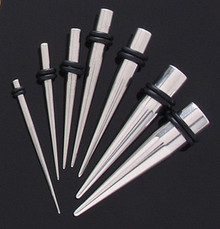 Steel Tapers EAR STRETCHING KIT plug Set 0g-14g ear -8pc set