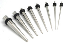 "9pc Steel Tapers EAR STRETCHING KIT plugs Set "" 00g 0g 2g 4g 6g 8g 10g 12g 14g"