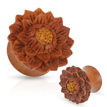 Pair of Organic Jackfruit Lotus Flower Wood Hand Carved Ear Plugs Gauges 0g 00g 1/2 5/8 3/4