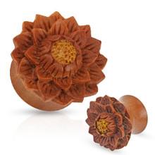 1 Pair of Organic Jackfruit Lotus Flower Wood Hand Carved Ear Plugs Gauges 0g 00g 1/2 5/8 3/4