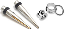 Pair of 316l Stainless Steel Tapers and Screw Tunnels Ear Stretching Kit Gauges Plugs 00g 0g 2g 4g 6g 8g 10g 12g