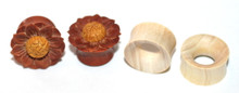 2 Pairs of Organic Flower Wood Hand Carved Ear Plugs Tunnels Gauges 0g 00g 1/2 5/8