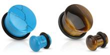 2 Pairs of Organic Tiger Eye Stone Plugs Ear Gauges 6g 4g 2g 0g 00g 1/2 9/16 5/8