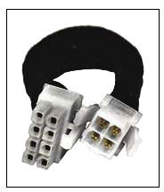 CB-4MP4-8F 8-pin EPS female cable adapter, P4 ATX 4-pin male, 6in, black sleeved