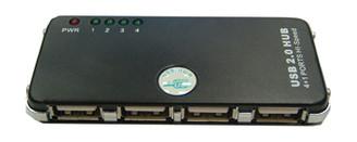 Anyware UH224-BK USB2.0 4 Port Black Hub w/ Power Adapter