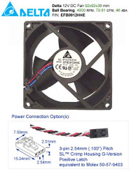 Delta  92x92x38mm Hi Output EFB0912HHE FAN, 3PIN