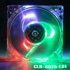 Evercool CLB-8025-LD1 80mm Fan w/ 3 Color LED  (B,G,R)