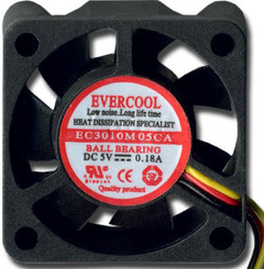 EverCool EC3010M05CA  30X30X10 mm 5V Fan (Bare Wires)