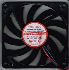 EverCool EC7010HH12CA 70x70x10mm High Speed Ball Bearing Fan, 3Pin