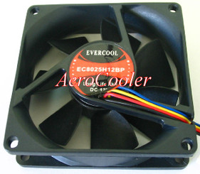 EverCool EC8025H12BP 80x25mm Hi Speed Ball Bearing Fan, 4pin PWM