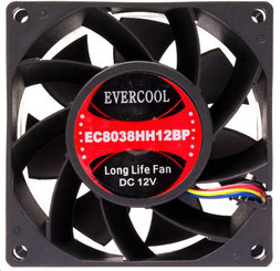 Evercool EC8038HH12BP 80mm x 38mm High Speed Ball Bearing Fan, 4Pin PWM