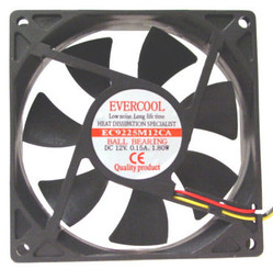 EverCool EC9225M12CA 92X92X25MM BALL BEARING FAN DC 12V,3Pin