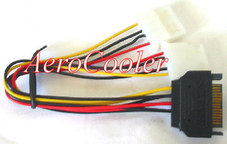 12inch SATA 15pin (Male) Power to Dual 4pin Molex (Female) Y Cable