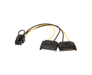 Kingwin PCI-04 8inch Dual 15P SATA Power to 6P (F) PCI Express Power Cable