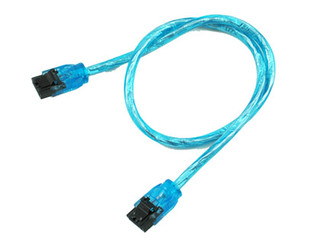 24inch SATA3.0 6Gb/s Round Cable,180 to 180 deg, w/ metal latch,UV Blue