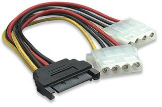 Okgear GC1544-6 6inch SATA 15Pin Male to Dual 4Pin Molex Female Y Cable