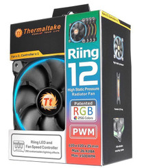Thermaltake CL-F042-PL12SW-B Riing 12 RGB  120mm RGB LED Fan (3 Pack)