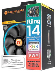 Thermaltake CL-F043-PL14SW-B Riing 14 RGB  140mm RGB LED Fan (3 Fan Pack)