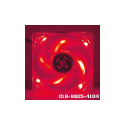 EverCool CLB-8025-4LD4 80x25mm 4 LED Fan (Red)