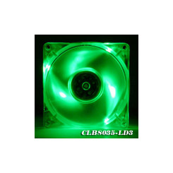 EverCool CLB8035-LD3 80X80X35mm 3 Green LED Crystal Fan