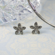 Silver Marcasite Flower Earrings