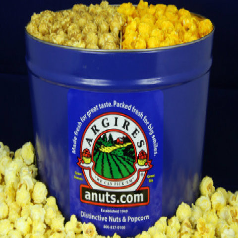 Gourmet Argires Popcorn Blue Gift Tin. 2 gallon size. Cheese or Cheese & Caramel Mix or all Caramel Popcorn. Chicago Downtown Style Quality. Made fresh for great taste. Packed fresh for big smiles.