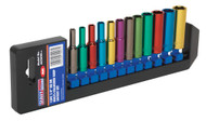 "Sealey AK282D Multi-Coloured Socket Set 12pc 1/4""Sq Drive 6pt Deep WallDrive¨ Metric"