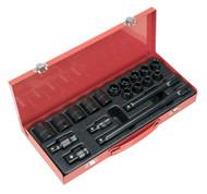 """Sealey AK5619M Impact Socket Set 19pc 1/2""""Sq Drive Metric"""