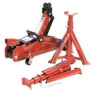 Sealey 1030CXDK Trolley Jack 2tonne Short Chassis with Axle Stands (Pair) 1tonne Capacity per Stand & Storage Case