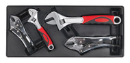 Sealey TBT04 Tool Tray with Locking Pliers & Adjustable Wrench Set 4pc