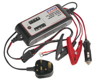 Sealey SMC02 Compact Auto Digital Battery Charger - 9-Cycle 12V