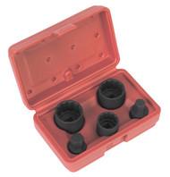 "Sealey SX053 Impact Hub Socket & Socket Bit Set 5pc 12-Point 1/2""Sq Drive"